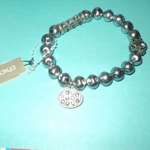 New Chico's Faux Pearl Stretch Braclet
